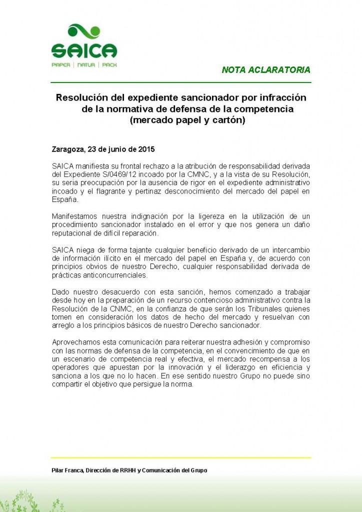 Nota Aclaratoria 23_6_15 _ Expediente CNMC