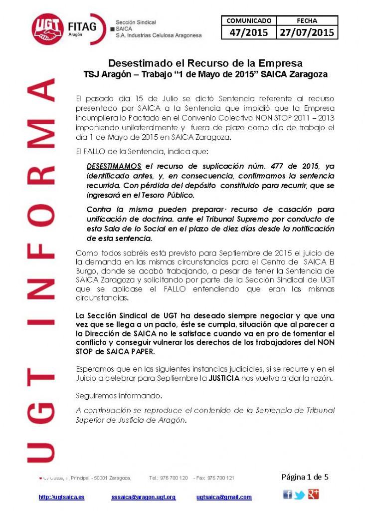 20150727 COMUNICADO UGT SAICA 47 2015 UGT SAICA STSJ 1 MAYO_Página_1