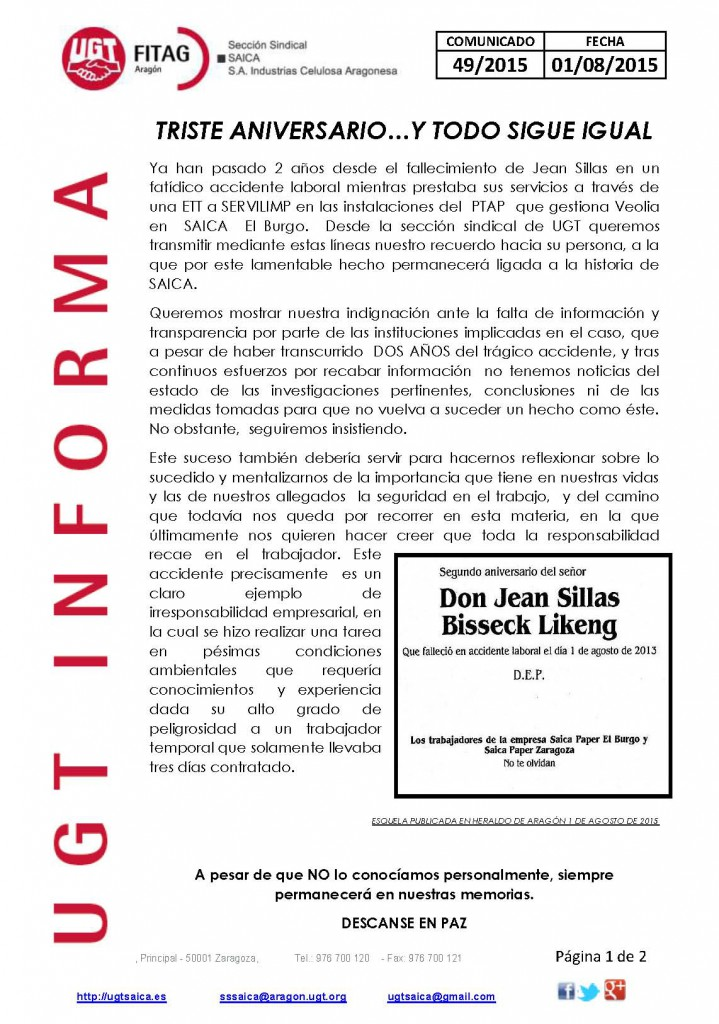 20150801 COMUNICADO UGT SAICA 49 2015 UGT SAICA 2 ANIVERSARIO AC MORTAL_Página_1