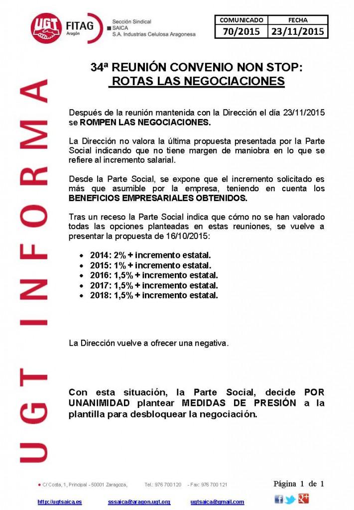 20151123 COMUNICADO UGT SAICA 70 2015 REU 34 CCNS