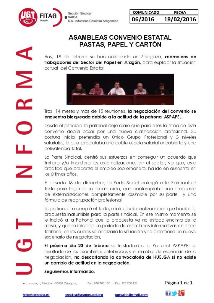 20160218 COMUNICADO UGT SAICA 6 2016 ASAMBLEAS CONV ESTATAL
