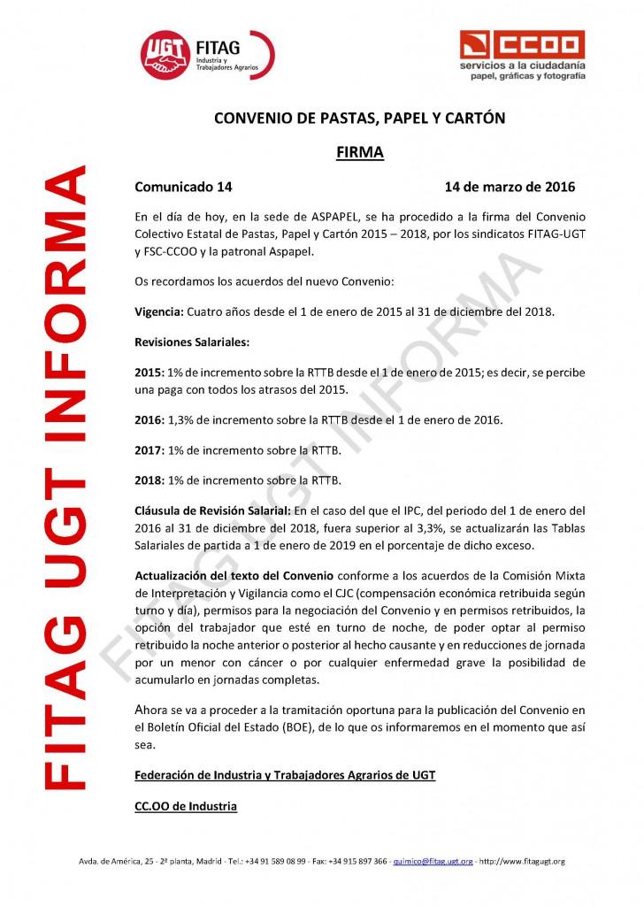 16-03-14 Comunicado 14 FIRMA CONVENIO PASTA PAPEL Y CARTON