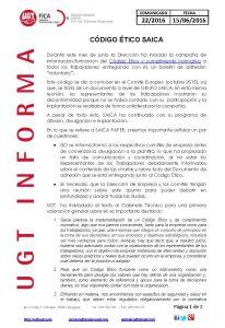 20160615 COMUNICADO UGT SAICA 22 2016 CODIGO ETICO SAICA_Página_1